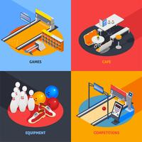 Bowling Colorful Isometric Compositions