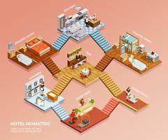 Composição isométrica do hotel