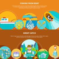 Bannières horizontales de bateaux de pêche