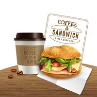 Coffee Sandwich Fast Food Realistic Advertisement