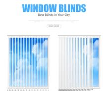 Twee ramen met blinds met uitzicht op bewolkte hemel