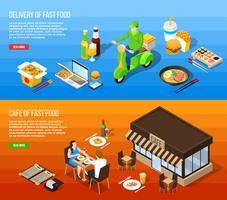 Fast Food Delivery Isometric Horizontal Banners