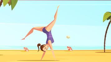 Beach Acrobatics Cartoon Composition