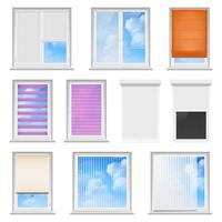 Persianas de ventana de color conjunto plano vector