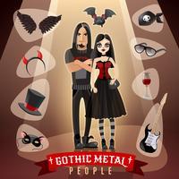Ilustración de subcultura de gente de metal gótico