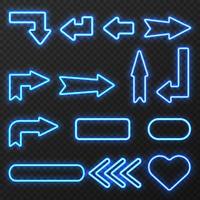 Ensemble de symboles de flèches signe néon