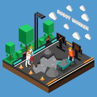 Conceito de projeto do robô trabalhador profissões 3d