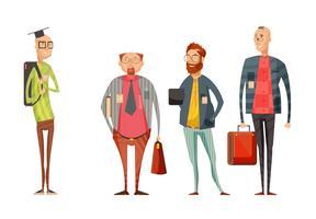 Coleção retro dos desenhos animados dos professores dos homens
