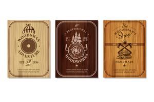Ensemble de bannières de texture de boiseries bûcheron