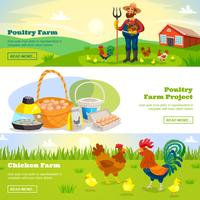 Farming Horizontal Banners Set vector