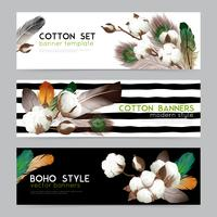 Cotton Bolls Boho Banners Set