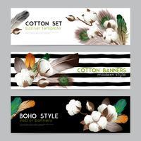 Cotton Bolls Boho  Banners Set
