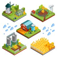 Rural Farm Landscape Elements vector