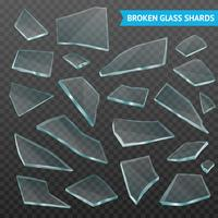 Glass Fragments Realistic Dark Transparent Set