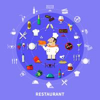 Restaurant Symbols Round Composition