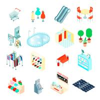 Shopping Mall Isometric Icons Set
