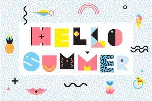 Hello Summer Memphis Style Design vector