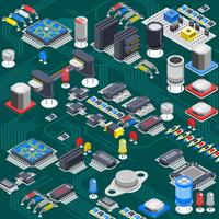 Isometric Circuit Board Composition