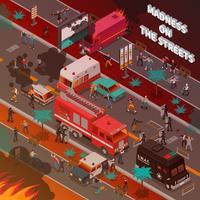 Street War isometrische illustratie