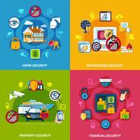 Conjunto de ícones de conceito de segurança
