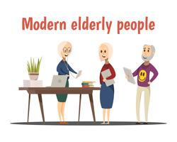 Modern Elderly People Composition