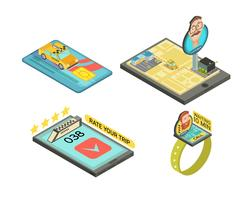 Ring Taxi Av Gadget Isometric Compositions