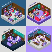 Beauty And Health Procedures Isometric Compositions