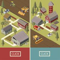 Farm Vehicles Isometric Banners