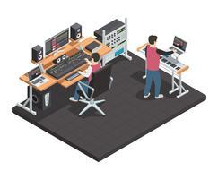Geluidsingenieur isometrische werkplek