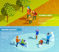 Family Outdoor Activities Isometric Banners Set