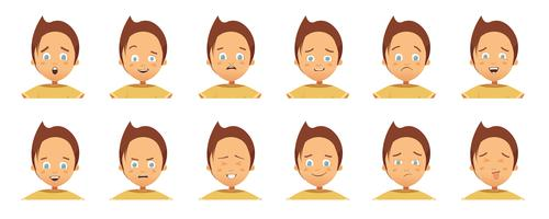 Child Emotions Avatars Collection Cartoon Style