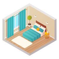Interior isométrico de sala de estar