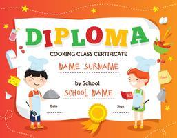 Diploma de clase de cocina de diseño