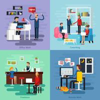 Working Character Composition Set vector