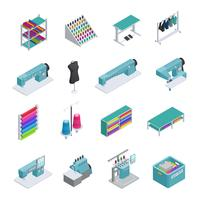 Garment Factory Isometrische Icon Set
