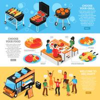 Barbecue 3d Isometric Banners Set