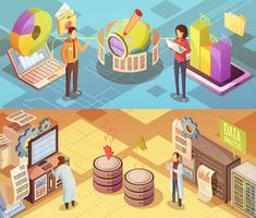 Banners isométricos de análise de dados