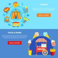 Parque de diversões 2 banners interativos plana