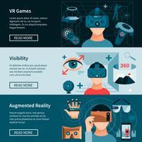 Conjunto de banners de página web horizontal de realidad virtual