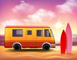 Surfing Van  3D Colorful background Poster