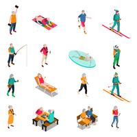 Conjunto de ícones isométrica de pessoas idosas
