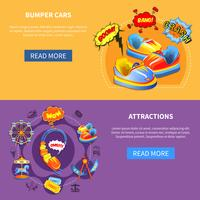 Bumper cars and attractions flat banners vector
