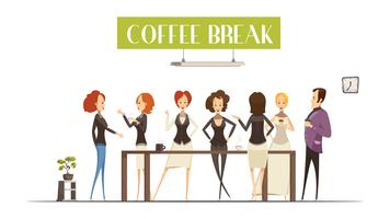 Coffee Break Cartoon Style Illustration