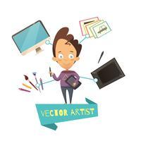 Cartoon Illustration Of Vector Artist Profession