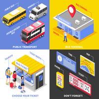 Concetto di design isometrica del terminal degli autobus