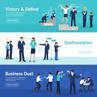 Constructive Business Confrontation Flat Banners Set