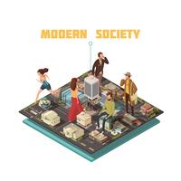 Isometric People Society vector