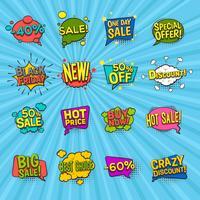 Discount Comic Icons Set vector