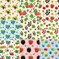 Set Of Nine Seamless Berries Patterns