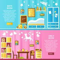 Banners horizontais interiores de quarto de bebê